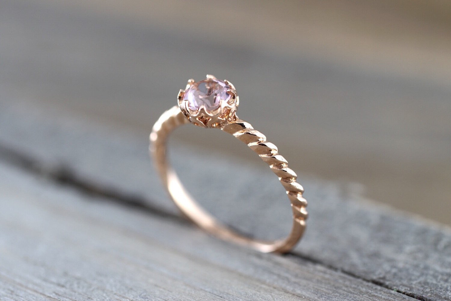Mandi 14k Rose Gold Round Morganite Diamond Halo Engagement Ring Crown Vintage
