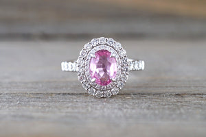 1.12 ct Pink Sapphire 18k White Gold Diamond Double Halo Split Shank Engagement Wedding Promise Ring - Brilliant Facets