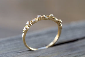 14K Yellow Gold Dainty Thin Stackable Diamond Vintage Classic Arch Shaped