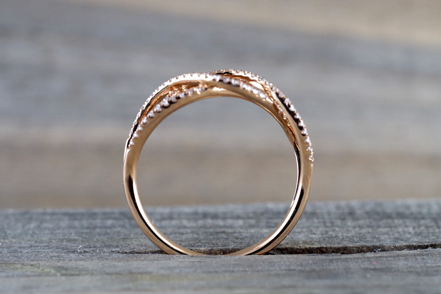 18k Rose Gold Diamond Infinity Intertwined Band Ring Wedding Anniversary Promise