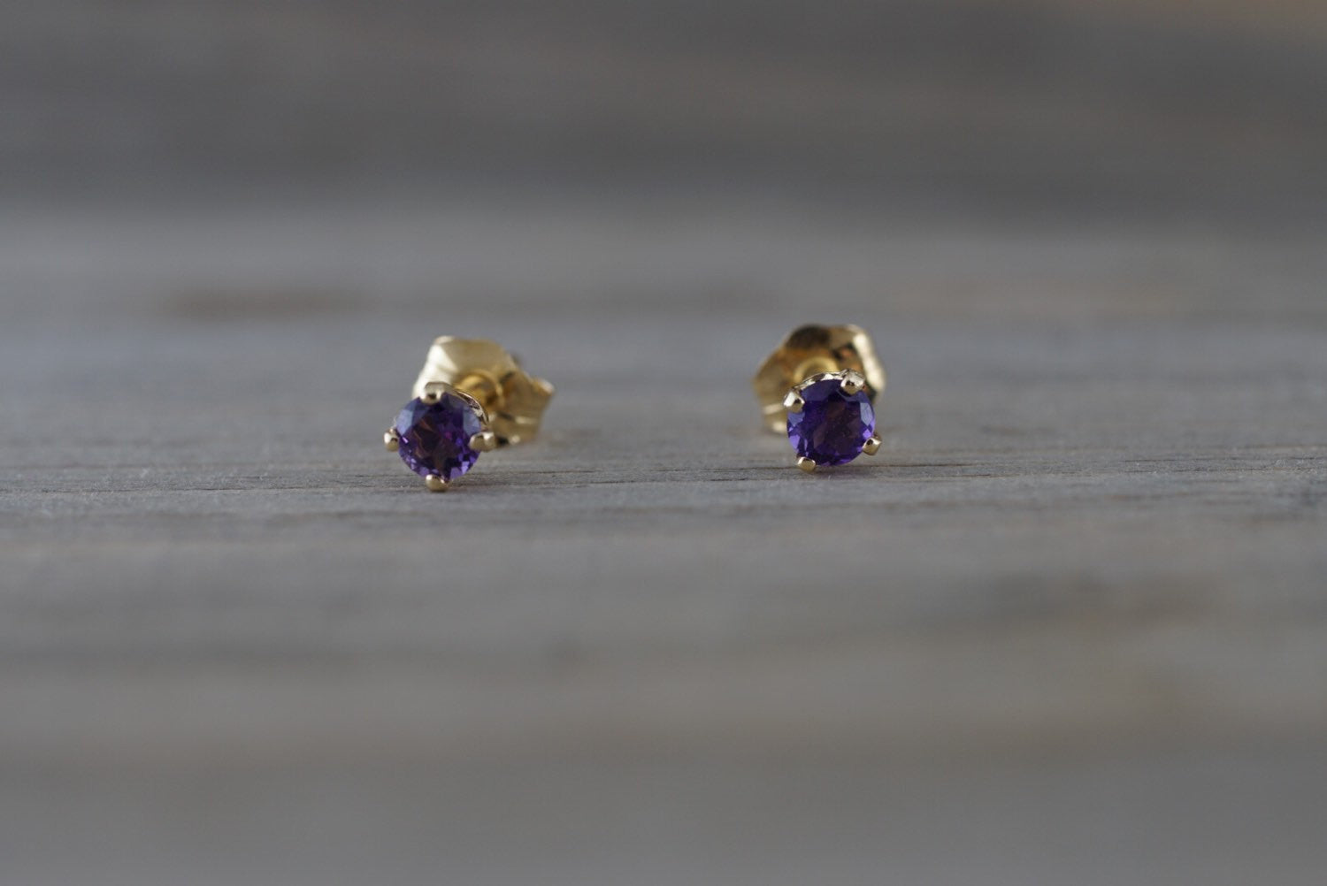 14k Solid Yellow Gold with Purple Amethyst Gemstone Earrings Studs February Birthstone - Brilliant Facets