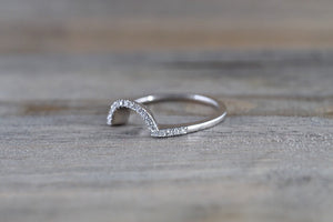 14k White Gold Halo Half Wedding Band to match with complete set