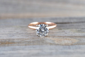 14k Gold Solitaire 7.5mm Round Forever Brilliant Moissanite Ring Charles & Colvard - Brilliant Facets
