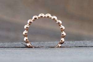 14kt Solid Rose Gold 3mm Bead Ball Stackable Ring Band Wedding Engagement Eternity