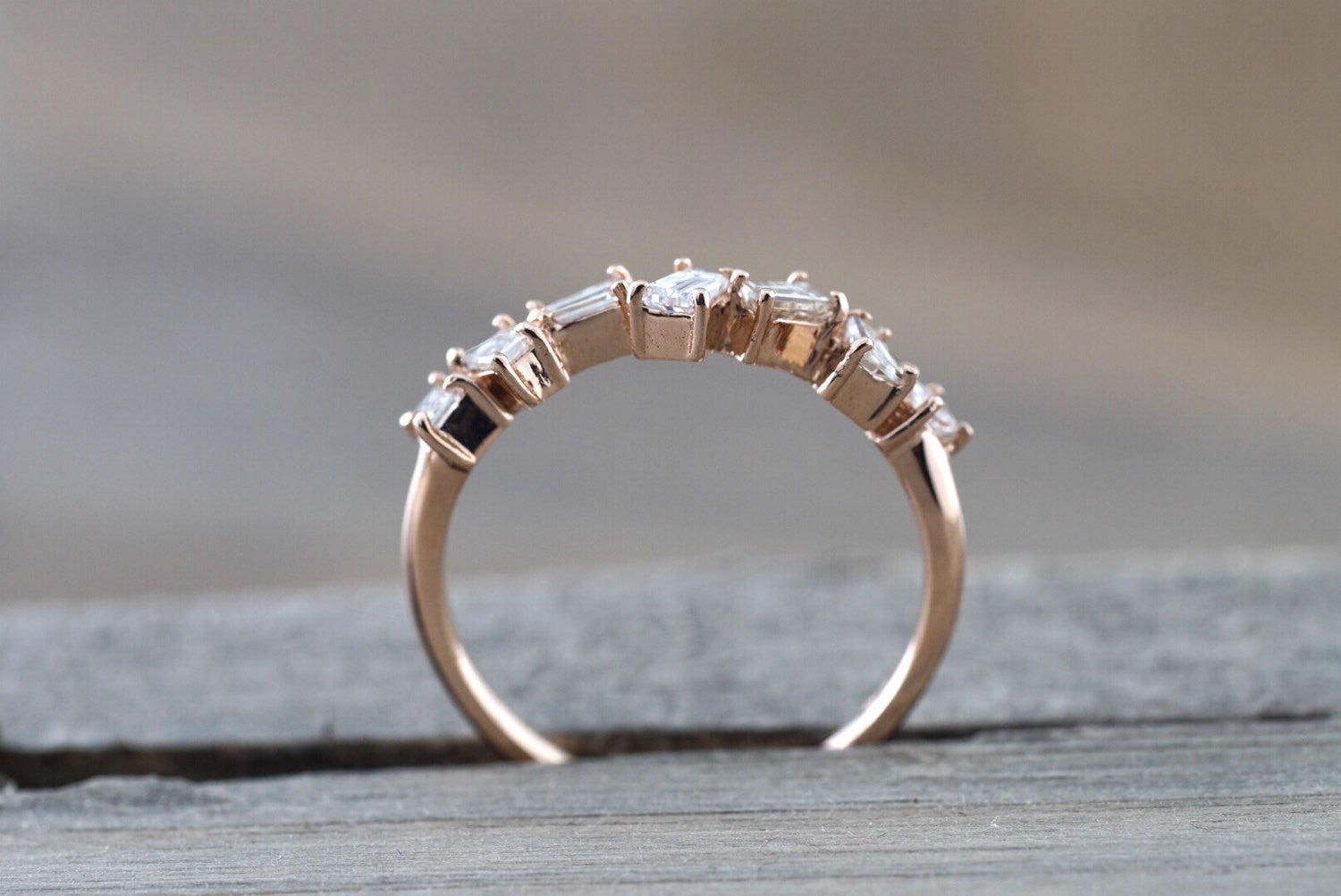 14k Rose Gold Dainty Baguette Cut Rectangle Diamond Band Stackable Design Ring Wedding Twist - Brilliant Facets