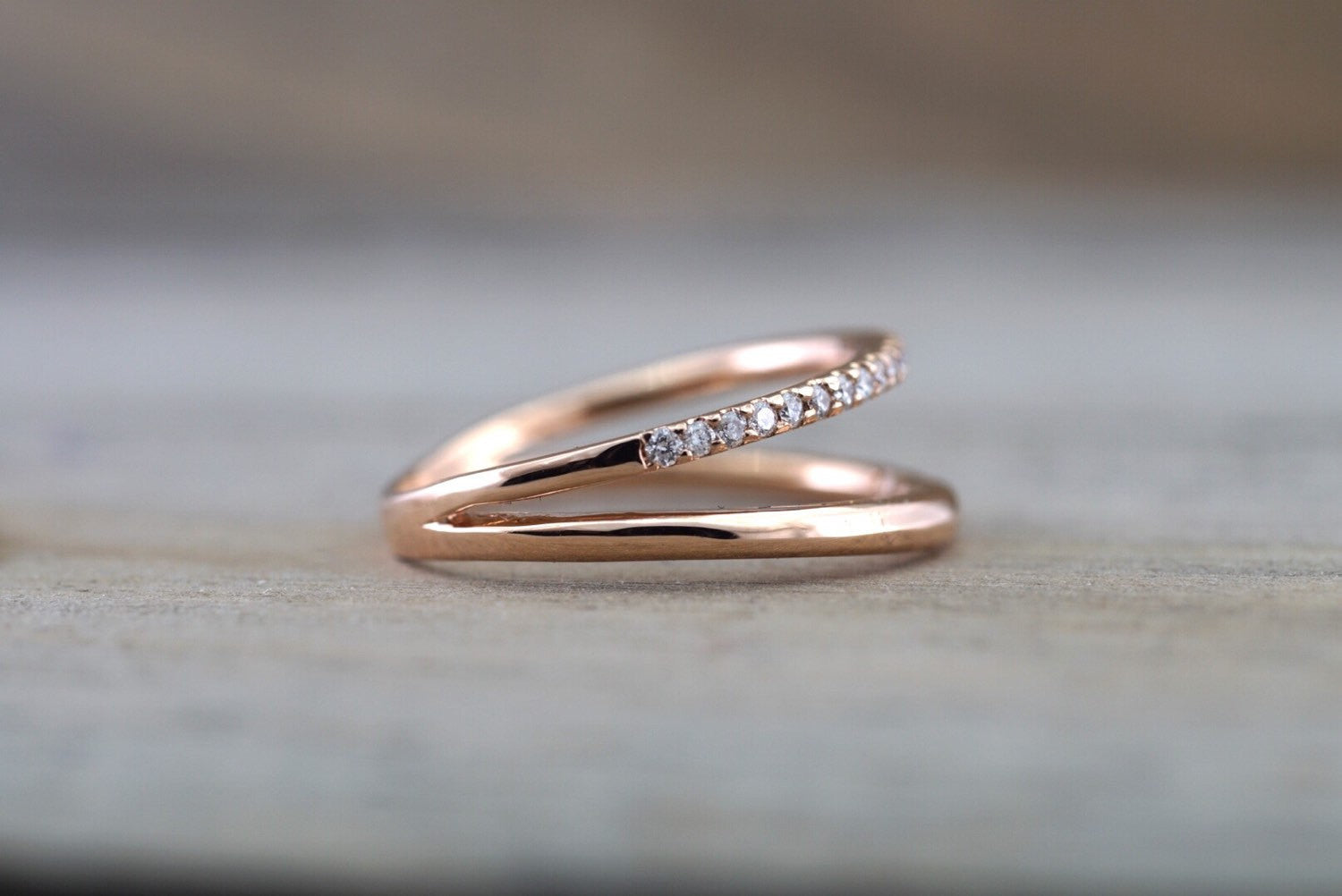14k Rose Gold Band and Diamond Ring Wedding Band Double Row Curve Open Ring - Brilliant Facets