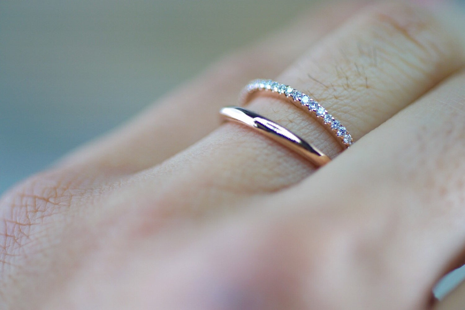 14k rose gold band and diamond ring wedding band double row curve open ring - Engagement Ring And Wedding Band