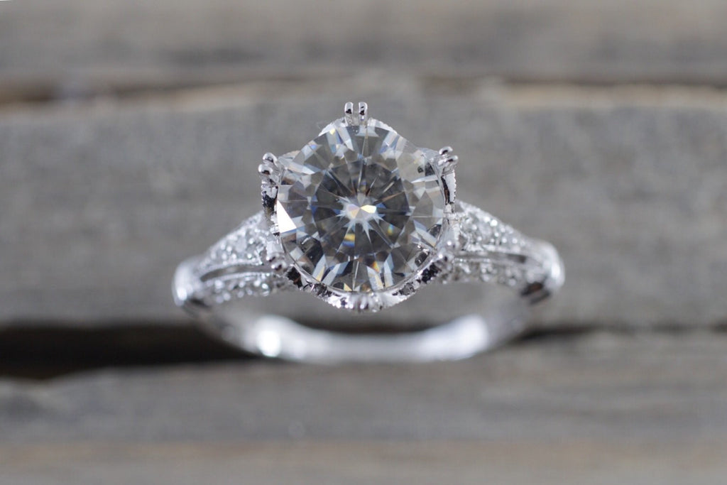 18k White Gold Crown Vintage Diamond Ring With Moissanite Diamond Halo Milgrain Engagement Ring