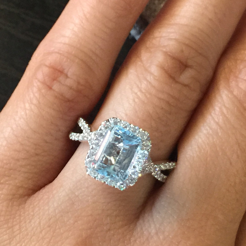 14k White Gold Diamond Emerald Cut Aquamarine Twist Infinity Love Halo Engagement Ring - Brilliant Facets