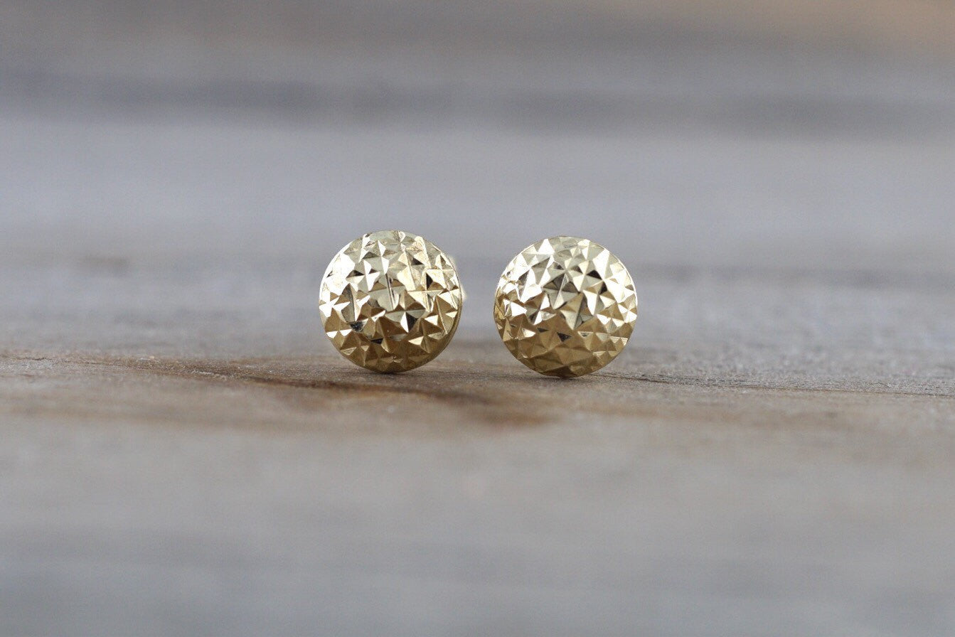 14k Yellow Gold Dice Cut Dome Ball Earring Stud Push Back
