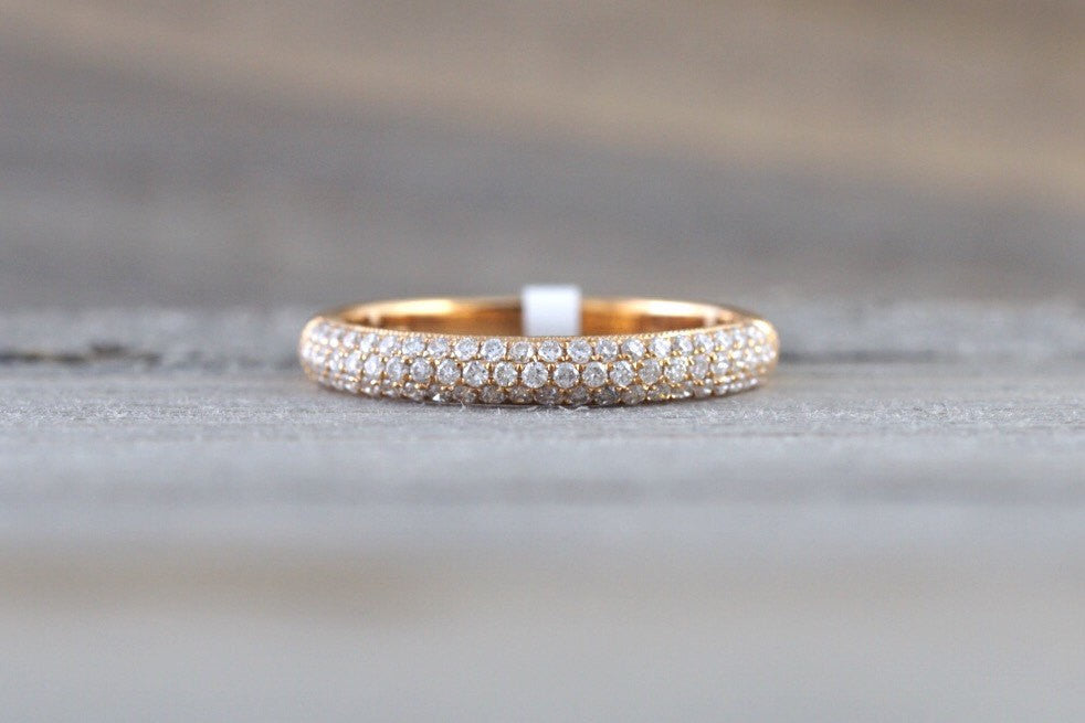 18k Rose Gold Diamond Micro Pave Dome Wedding Engagement Promise Love Anniversary Band Ring