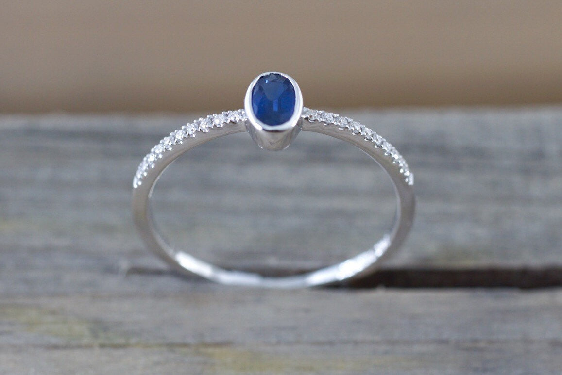 14k White Gold Oval Cut Blue Sapphire Bezel Diamond Engagement Promise Ring Anniversary