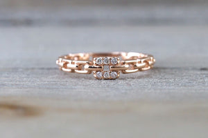 14k Solid Rose Gold Diamond Belt Chain Midi Pinky Ring Square Fashion Band - Brilliant Facets