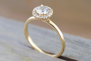 14k Yellow Gold Round White Sapphire Diamond Halo Engagement Wedding Love Promise Ring Band