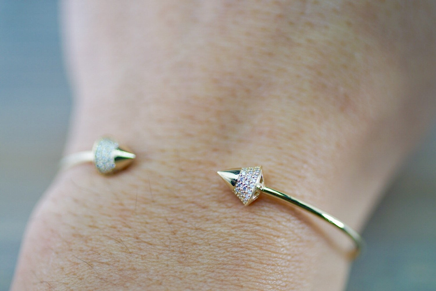 14k Yellow Gold Triangle Micro Pave Diamond Infinity Charm Dainty Gift Fashion Cuff Bangle