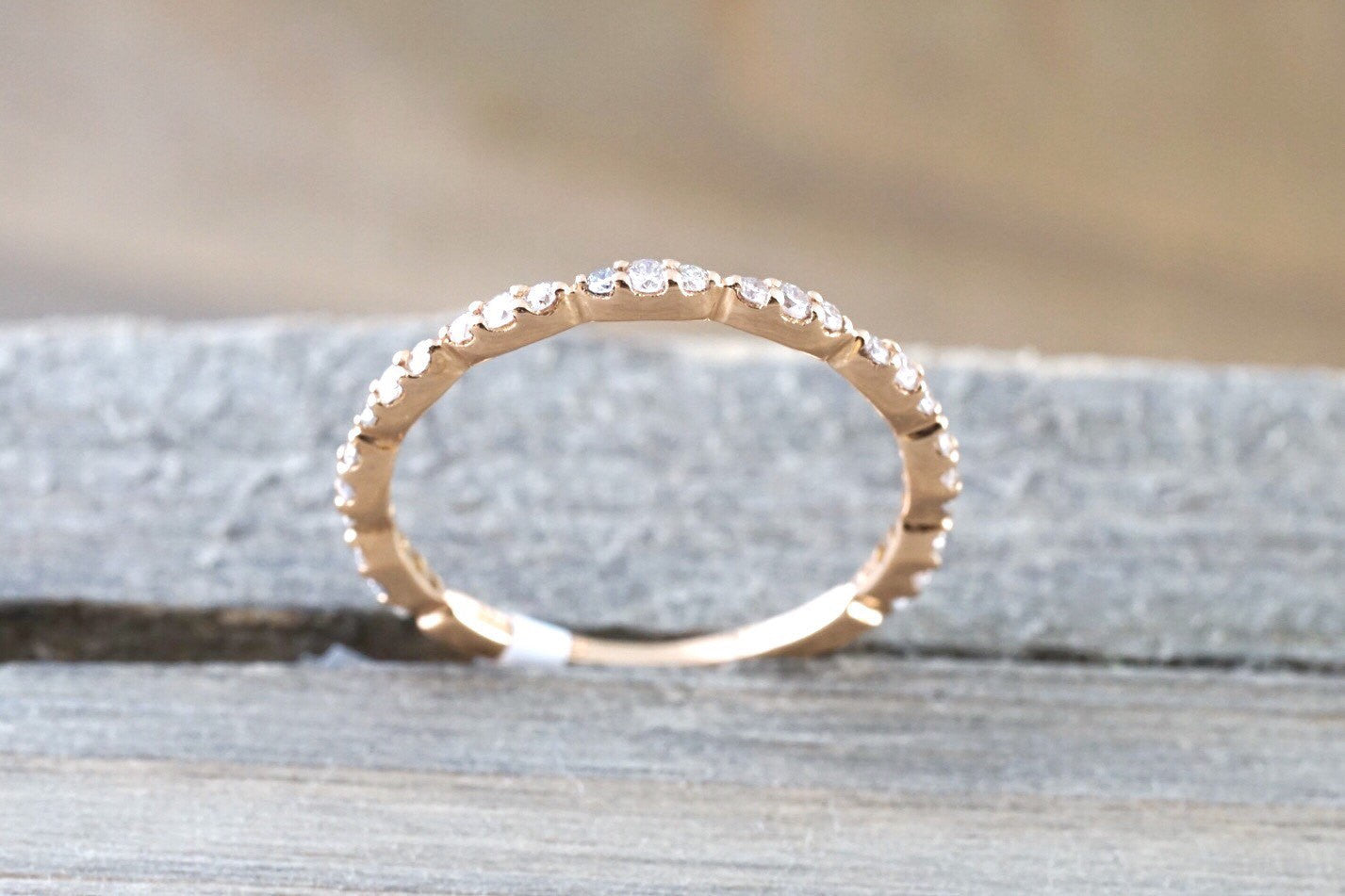 14k Rose Gold Dainty Diamond 3/4 Eternity Band Wedding Anniversary Love Ring Band Vintage - Brilliant Facets