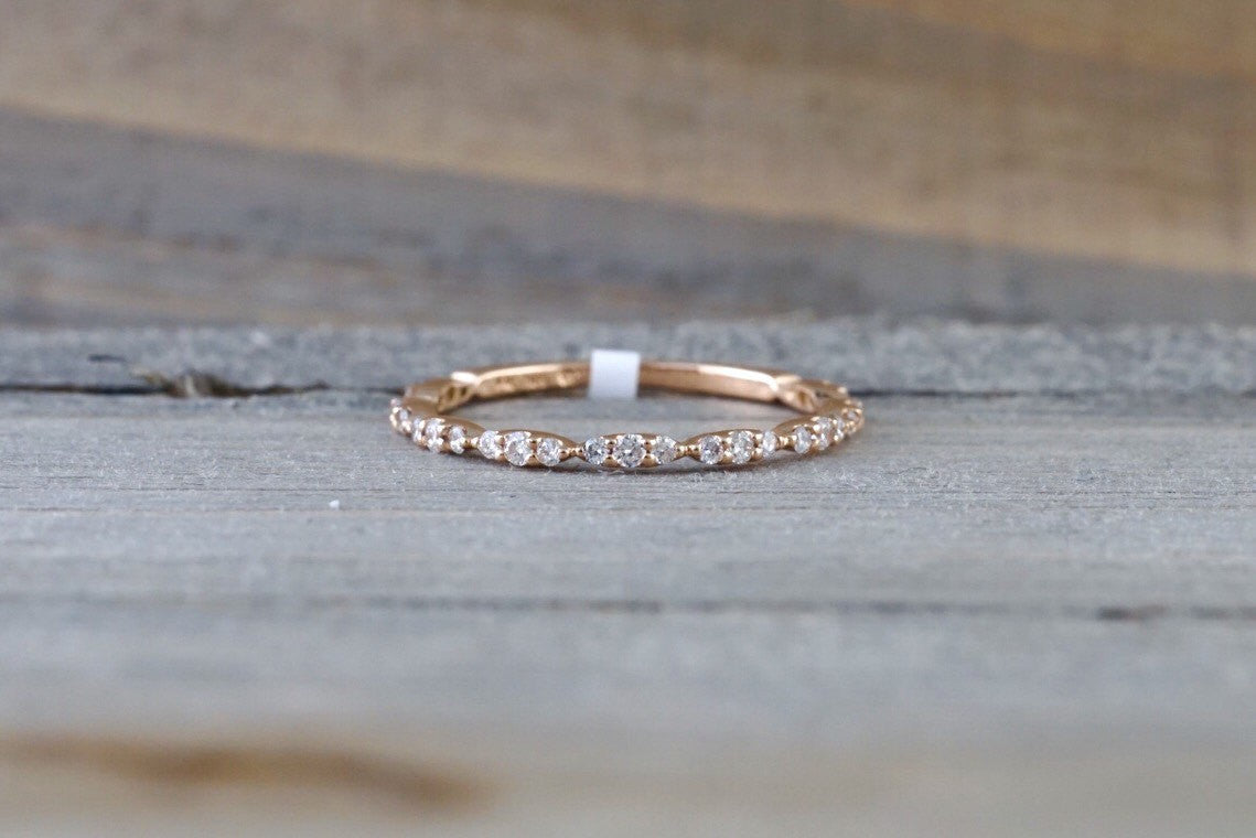 14k rose gold dainty diamond 34 eternity band wedding anniversary love ring band vintage - Wedding Ring Band