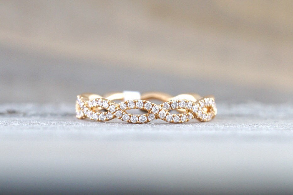14k Rose Gold Infinity Twist Eternity Crossover Vine Vintage Diamond Band Brilliant Cut Ring - Brilliant Facets