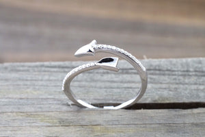 18k Solid White Gold Diamond Arrow Open Fashion Ring Band Love