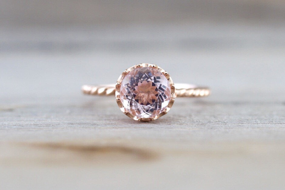 Mandi 14k Rose Gold Round 8mm Morganite Engagement Ring Crown Vintage Design