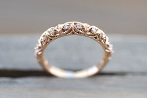 14kt Gold Diamond Milgrain Etching Vintage Wedding Ring RR010087