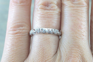 14kt White Gold Diamond Milgrain Etching Vintage Wedding Engagement Anniversary Band Ring