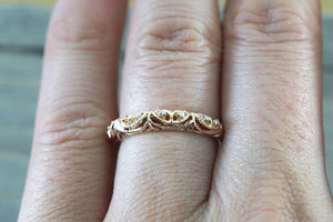 14kt Rose Gold Diamond Milgrain Etching Vintage Wedding Engagement Anniversary Band Ring