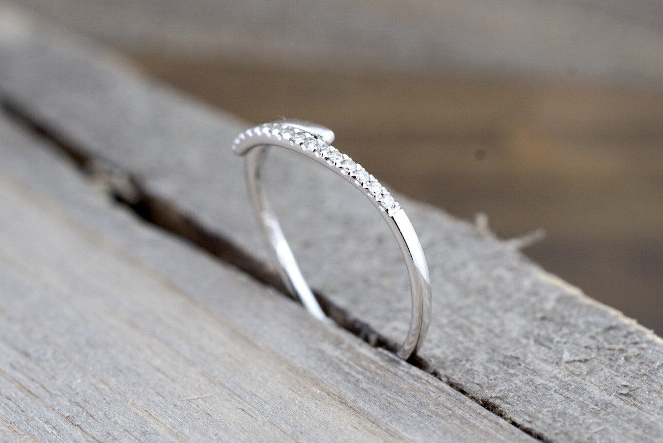 14k White Gold Diamond Pave Polished Stackable Ring Band Promise Anniversary Fashion Rope - Brilliant Facets