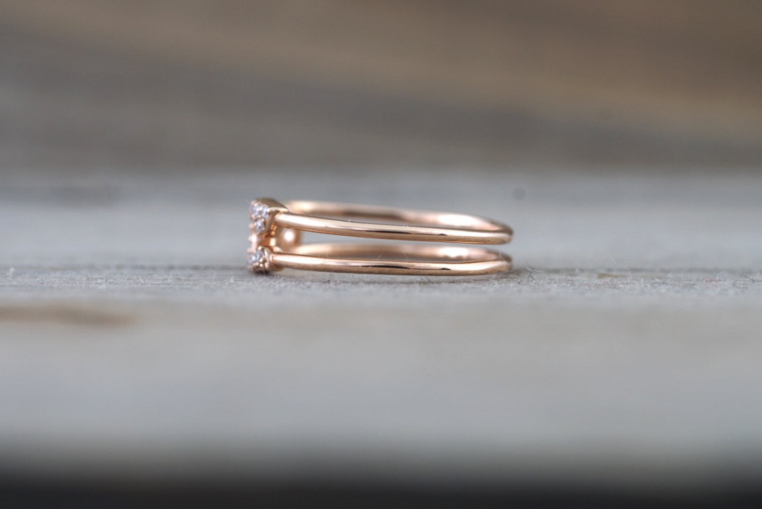 14k Rose Gold Diamond Safety Pin Design Ring Band Solid - Brilliant Facets