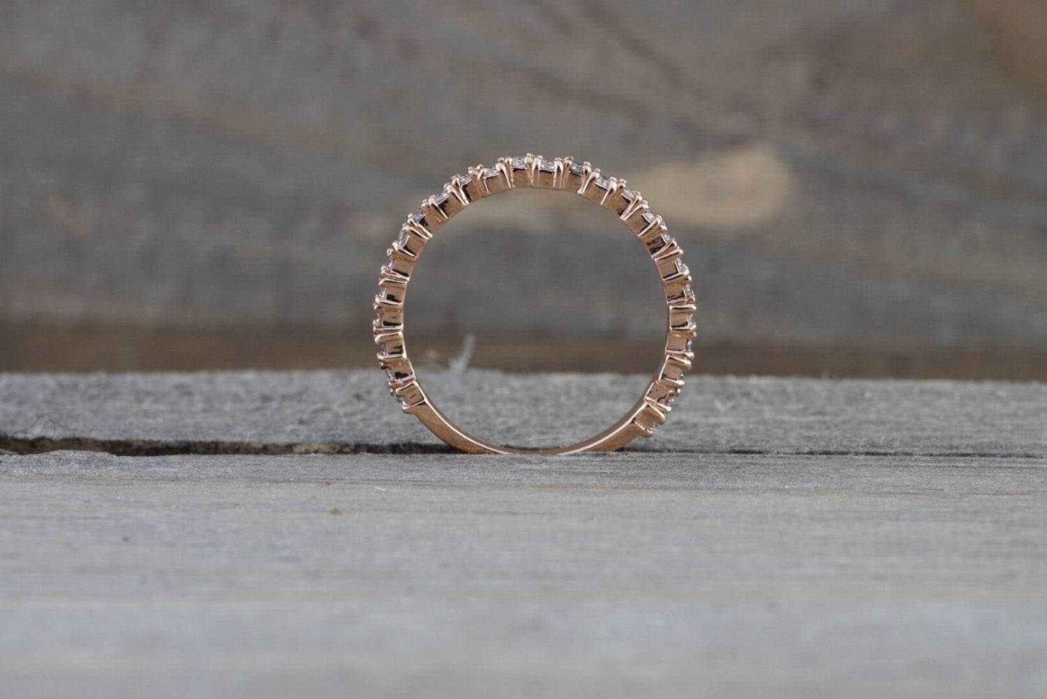14k Rose Gold Diamond Band Ring 3/4 Engagement Wedding Love - Brilliant Facets