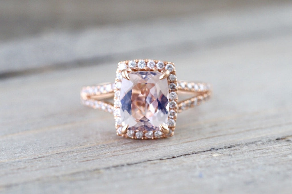 14k Rose Gold 9x7mm Cushion Morganite Diamond Halo Engagement Ring Split Shank - Brilliant Facets