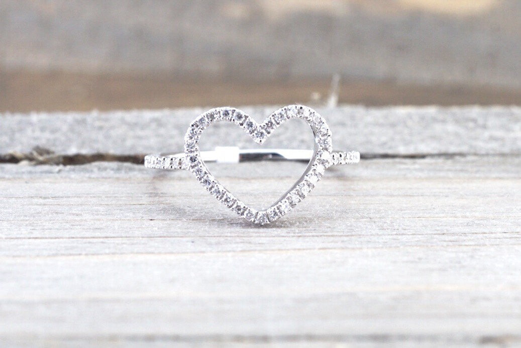 14k White Gold Diamond Open Heart Anniversary Promise Love Ring Band Fashion - Brilliant Facets