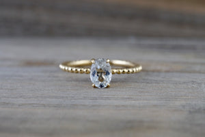 14k Yellow Gold Oval Cut White Topaz Gemstone Ring Engagement Promise Ring Rope