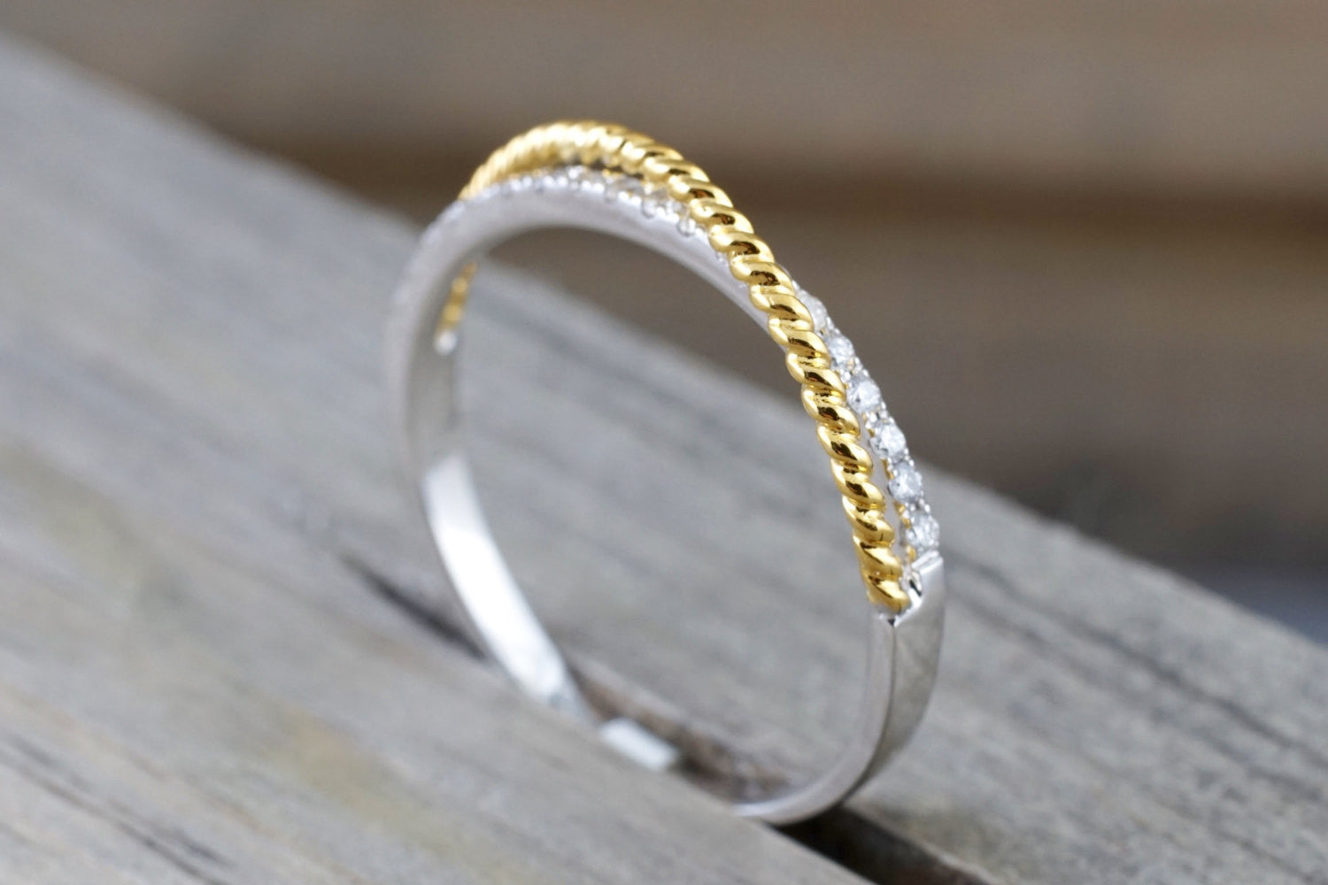14k White Yellow Gold Diamond Twist Band Ring Engagement Wedding Promise
