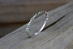 14k White Gold Round Cut Green Emerald Engagement Pave Stackable Stacking Promise Ring Anniversary