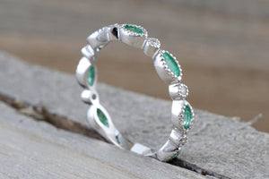 14k White Gold Marquis Cut Green Emerald Round Brilliant Cut Diamond Pave Ring