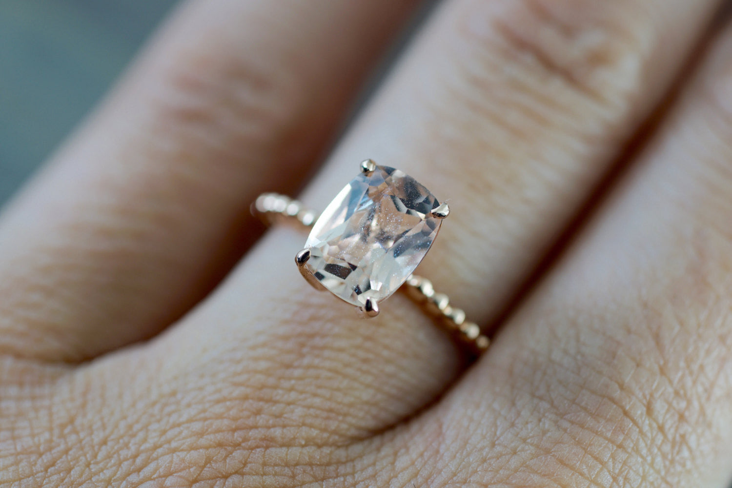 14k Rose Gold Elongated Cushion Cut Pink Peach Morganite Prong Engagement Promise Ring Rope - Brilliant Facets