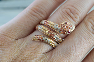 18k Rose Gold Diamond Snake Design Large Cocktail Ring Curve Orange Yellow