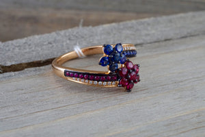 18K Rose Gold Art Deco Sapphire Ruby Diamond Engagement Wedding Ring