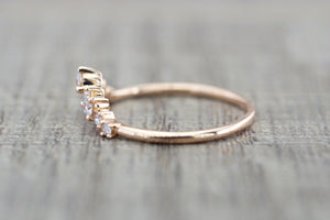 Gold Crown Tiara Curved Diamond Ring RR010038