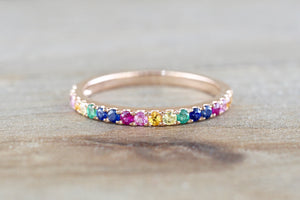 Rainbow Multi Color Gemstone Ring RR010036