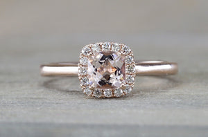 SINCLAIR 5mm Cushion Morganite 14kt Gold Diamond Halo Ring ER010021