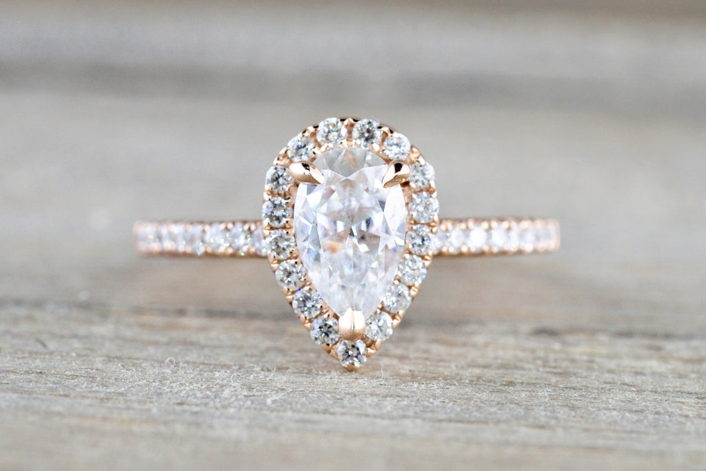 14k Rose Gold Pear 8x5mm Moissanite Diamond Engagement Ring Charles & Colvard
