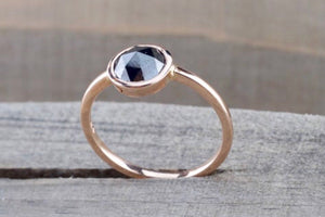Rose Cut Black Diamond Solitaire Ring
