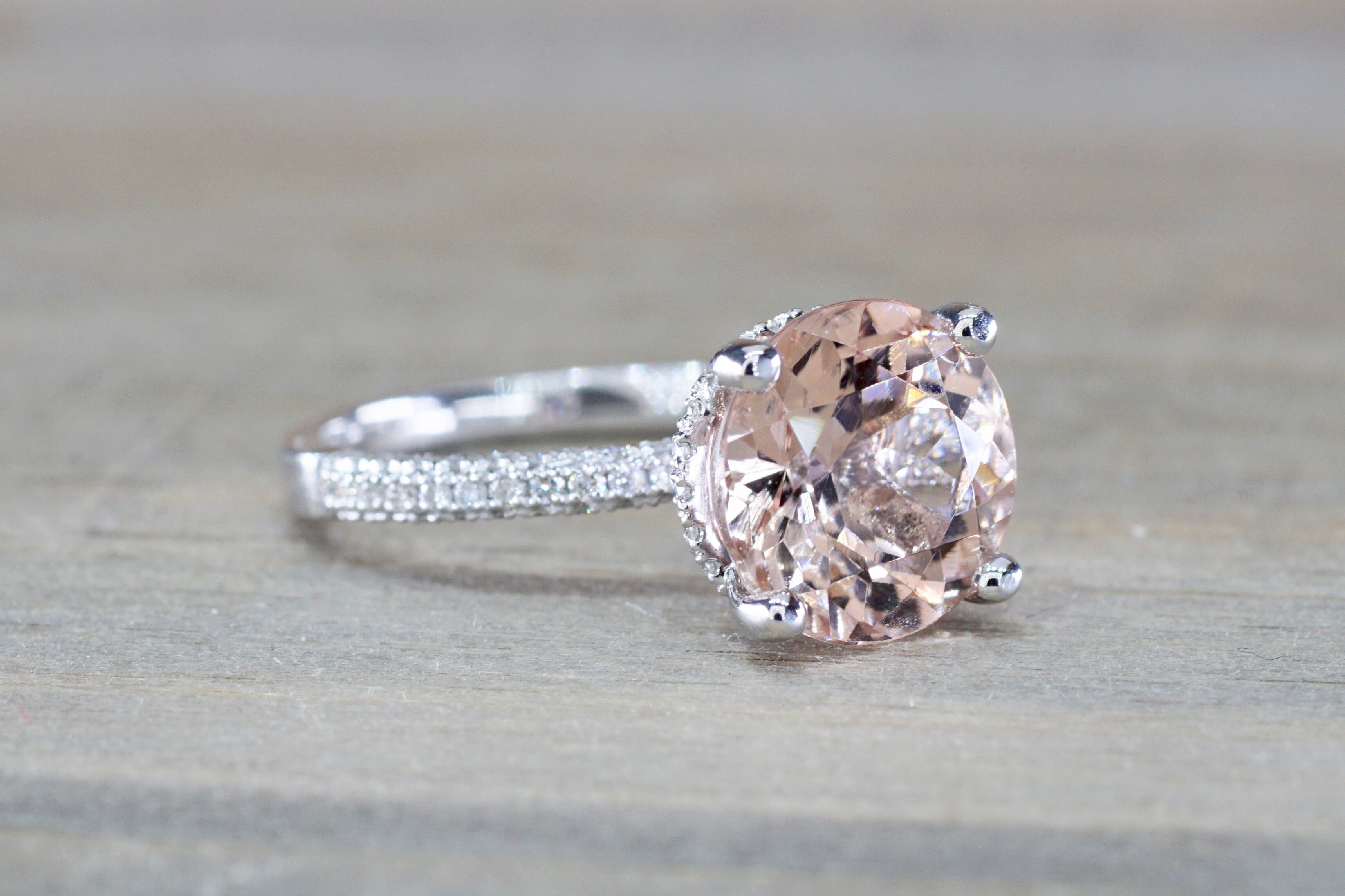 3D Round Morganite 14kt Gold Diamond Encrusted Under Halo Ring