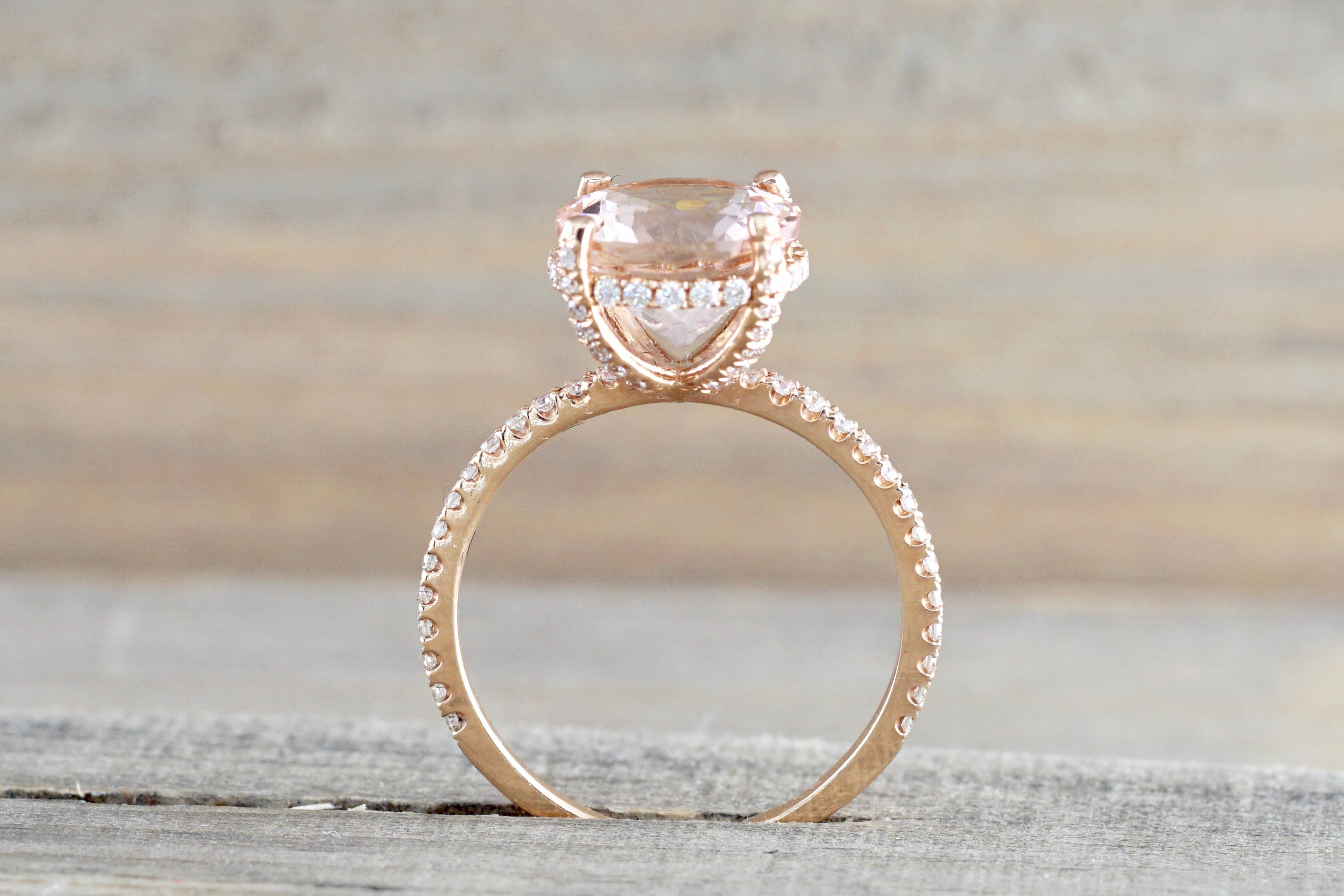 Round Morganite 14kt Gold Diamond Encrusted Under Halo Ring ER010022