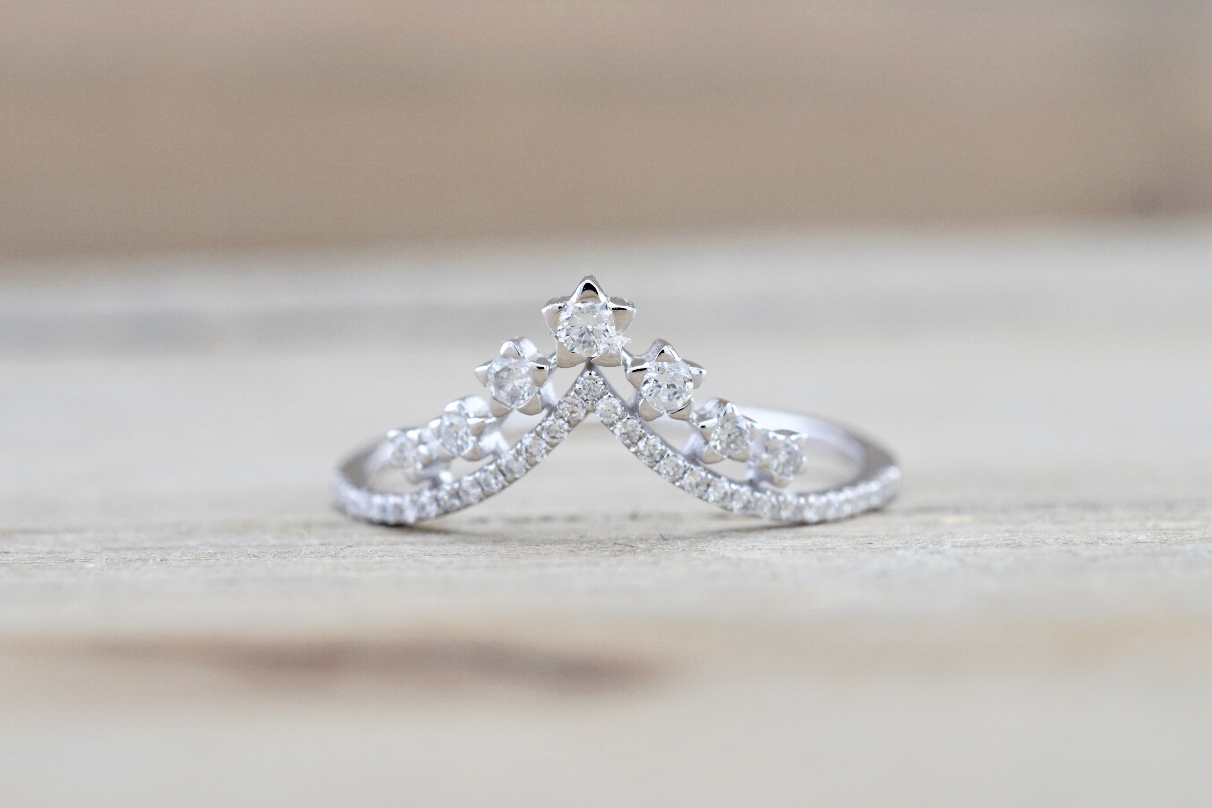 Star Crown Shadow Diamond Band Ring