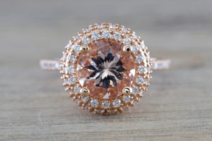 Round Morganite 14kt Gold Diamond Halo ER010016