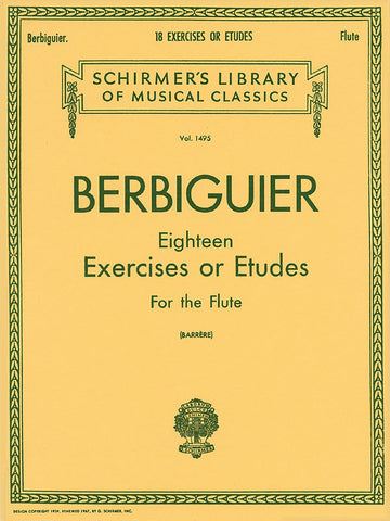 BERBIGUIER 18 EXERCISE OR STUDIES FLUTE
