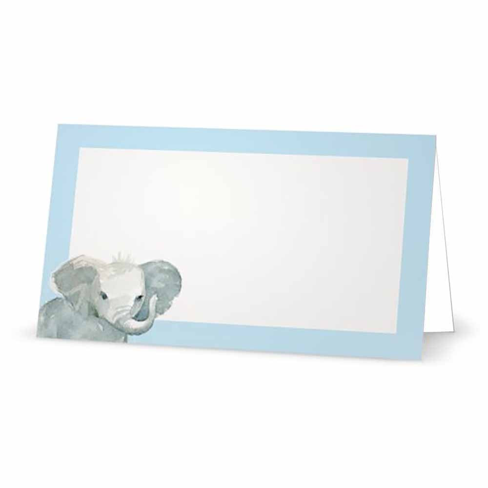 Pastel Blue Baby Elephant Place Cards - Tent card Style